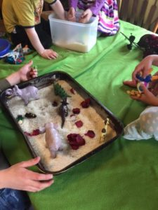 Adam and Eve sensory tub for our alphabet Bible stories.