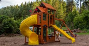 The curly slide was definitely the hardest piece to assemble on the Canyon Ridge Playset.