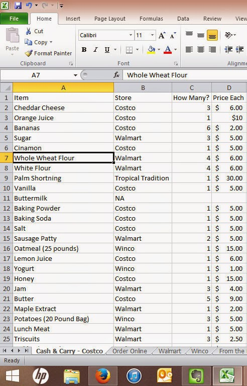 using excel to make a master shopping list maggie s milk