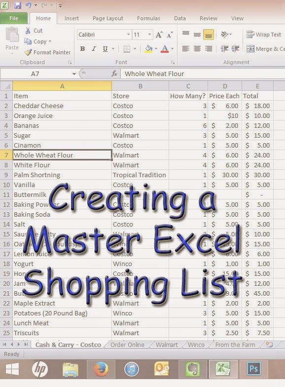 Using Excel to Make a Shopping List