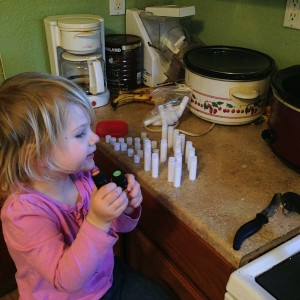 The essential oils are ready for action.  Sydney loves counting out the ten drops of each that  we need.