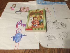 Pictures the kids drew from our read aloud.