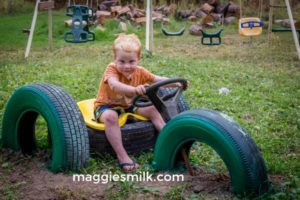 upcycle tires into a tractor for the kids