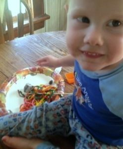 Rainbow noodles are fun to play with.