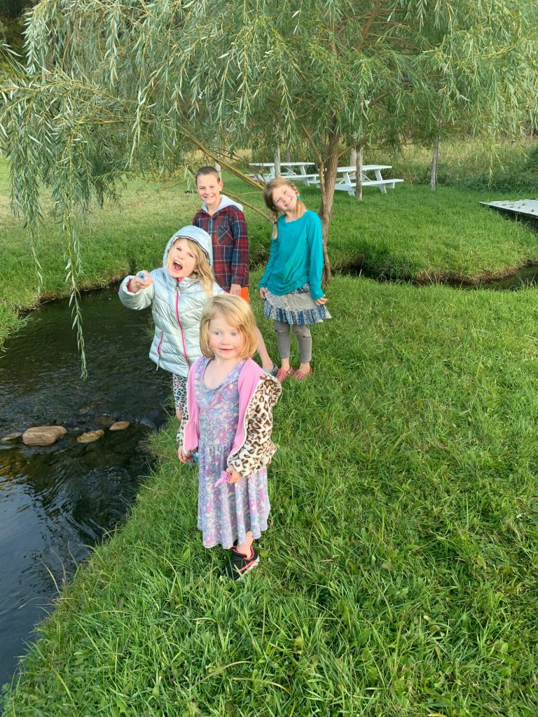 Four kids standing next to a creek